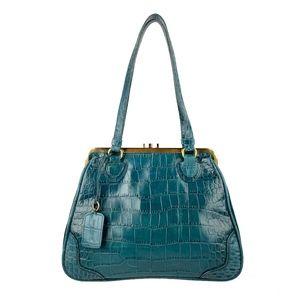 CASUAL CORNER Teal Croc Frame Medium Satchel Bag